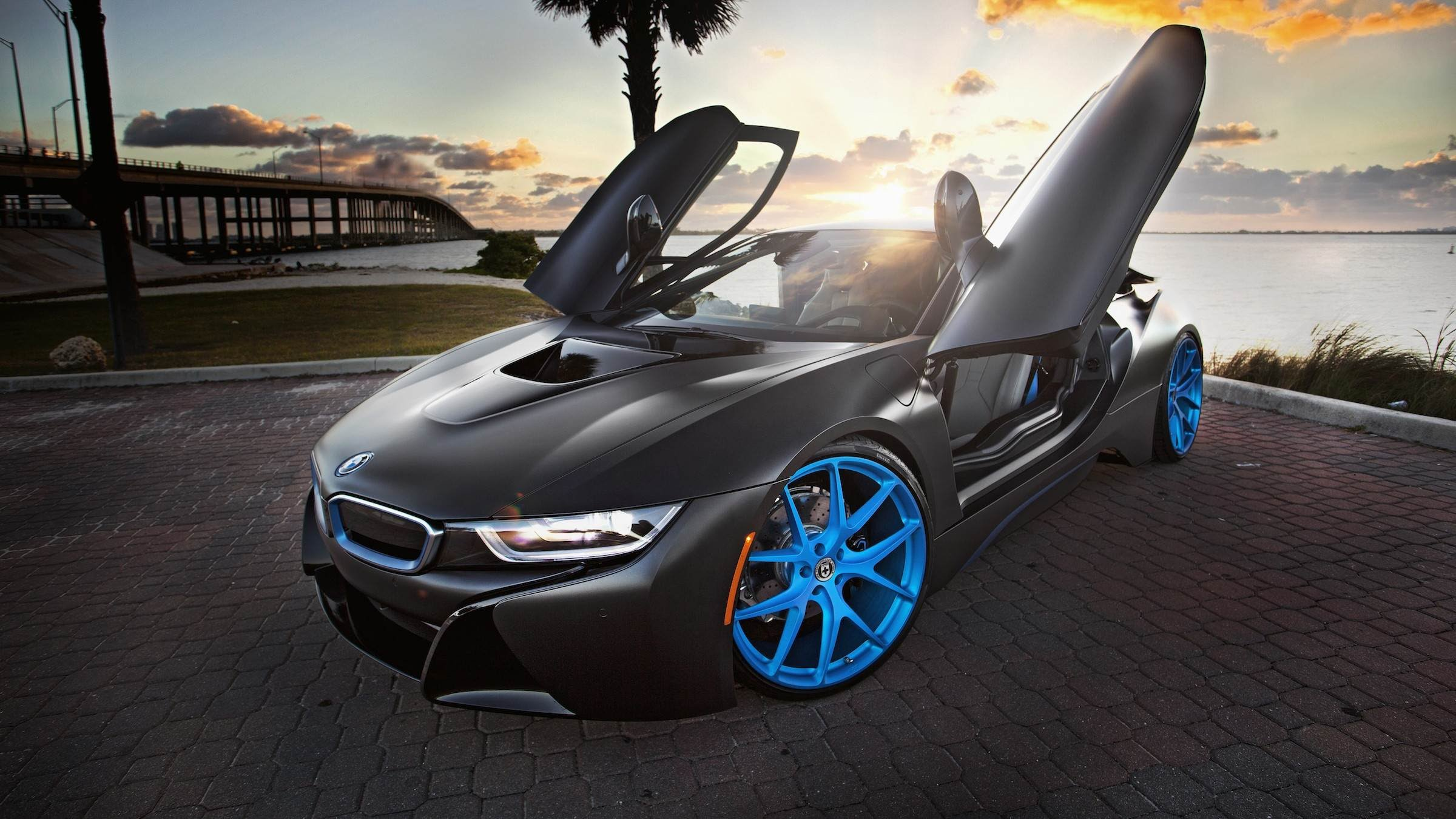 Matte Black BMW i8 on Frozen Blue HRE Wheels