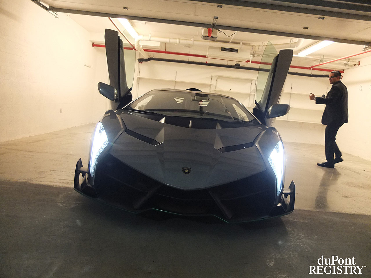 Looking like a predator ... the Lamborghini Veneno during delivery in Miami