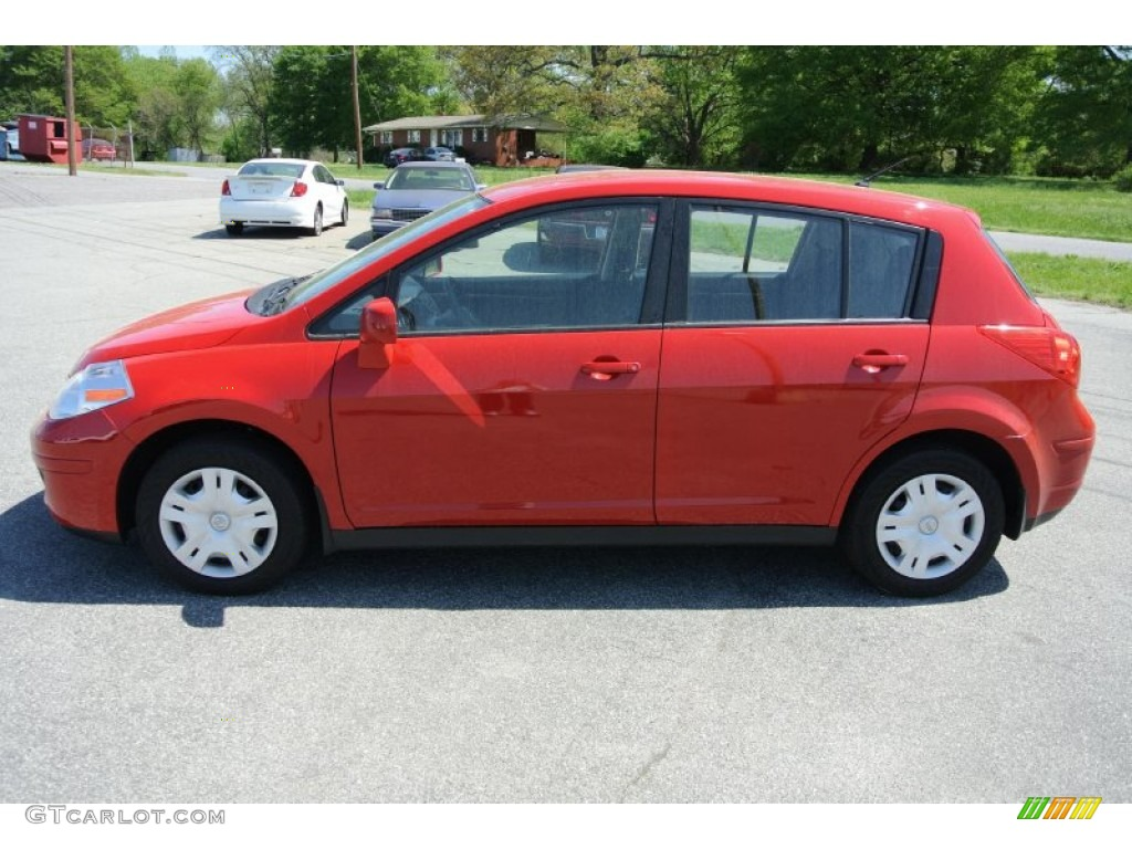 2012 Nissan Versa 1.8 S Hatchback - Red Alert Color / Charcoal Interior