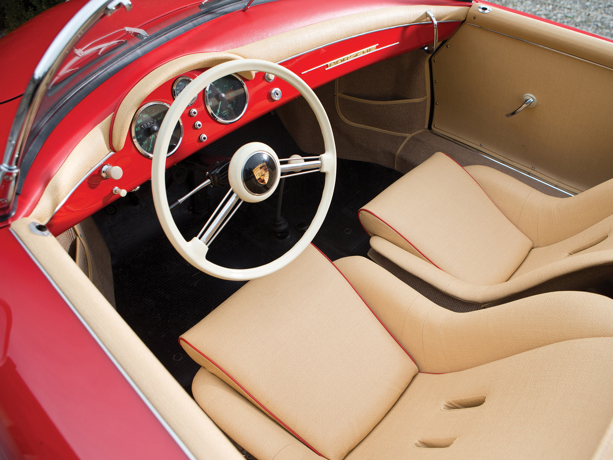 1955 Porsche 356 Speedster retro supercar supercars interior wallpaper background