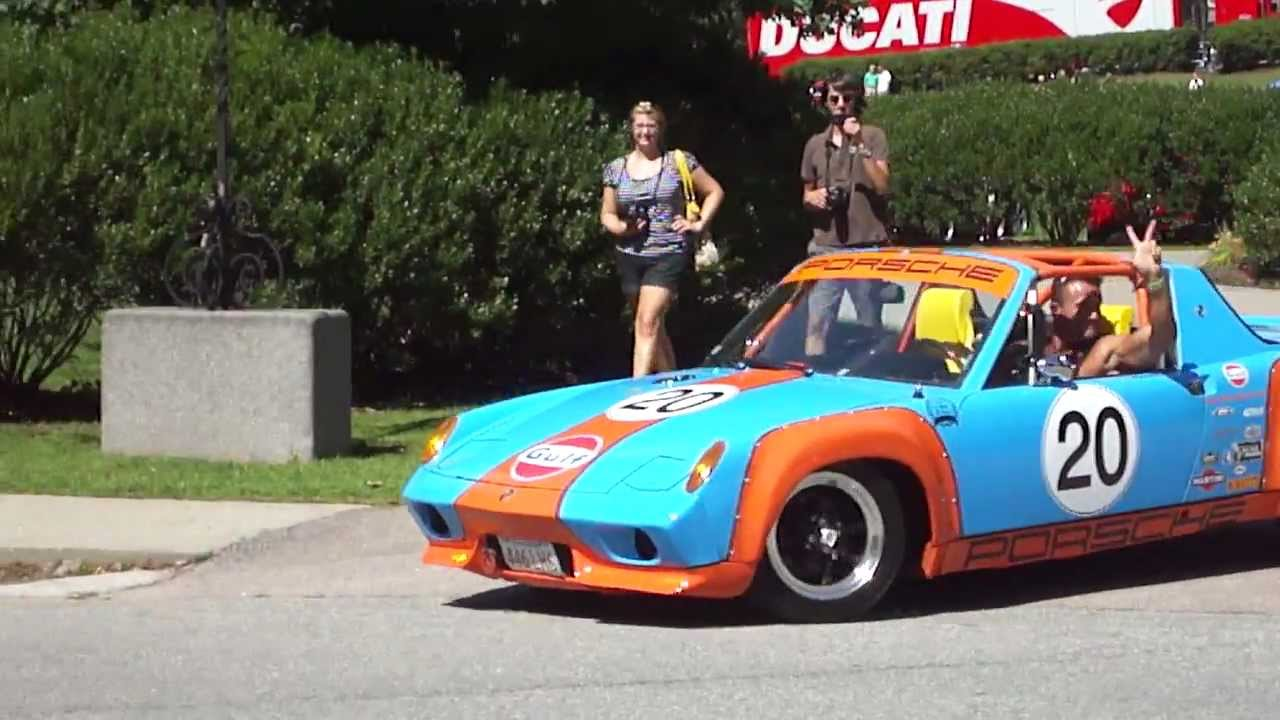 Gulf Racing Replica Porsche 914 With Custom Exhaust Driving Away From Porschefest 2011 - 720p