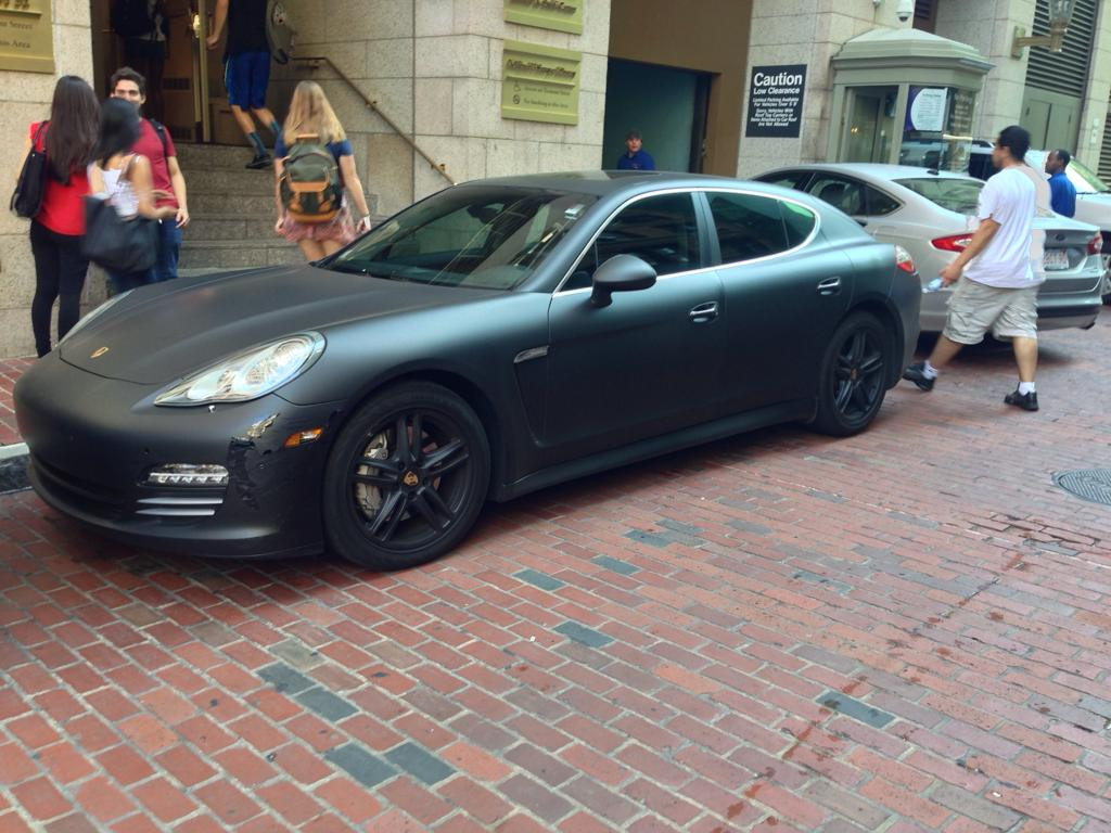 Spotted another student's matte black wrapped Porsche Panamera at my Uni in Boston ...