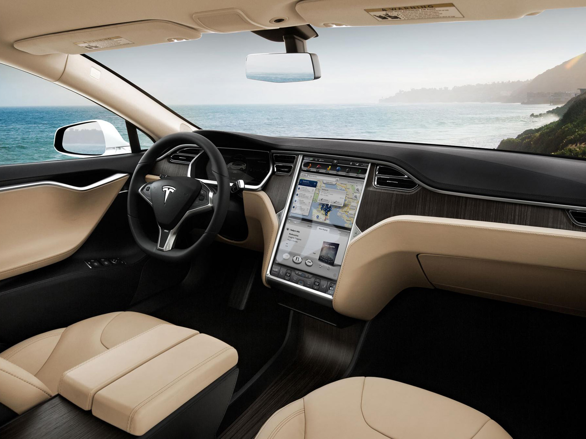 2013 Tesla Model S supercar interior g wallpaper background